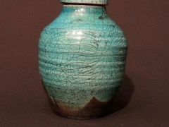 Medium raku lidded pot