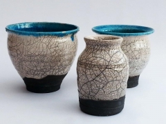 Three raku pots