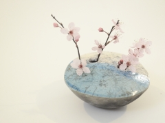 Raku Orb with Blossom