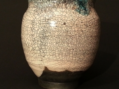 Small green white raku bowl